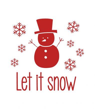 kerststicker let it snow